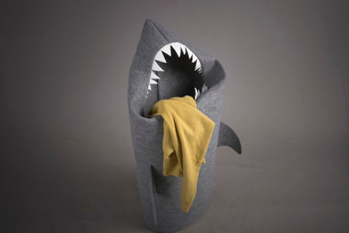 wnycradiolab:  laughingsquid:  A Pointy-Toothed Shark-Shaped Laundry Basket  EXCELLENT.  I believe 'a shark ate my panties' could be used here?