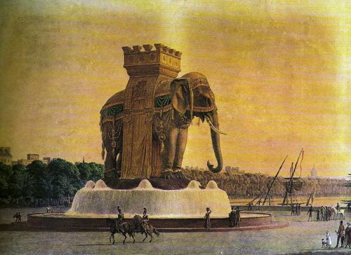 La fontaine de l'éléphant, projet d'Alavoine (vers 1813-1814). Il s'agit probablement de la vue exposée au Salon de 1814, ou d'une lithographie en couleur de celle-ci (Paris, musée Carnavalet). @credits  The Elephant of the Bastille was a monument in Paris between 1813 and 1846. Originally conceived in 1808 by Napoleon, the statue was intended to be created out of bronze and placed in Place de la Bastille, but only a plaster full-scale model was built. At 24 m (78 ft) in height the model itself became a recognisable construction and was immortalised by Victor Hugo in his novel Les Misérables in which it is used as a shelter by Gavroche. It was built at the site of the Bastille and although part of the original construction remains the elephant itself was replaced by the July Column.