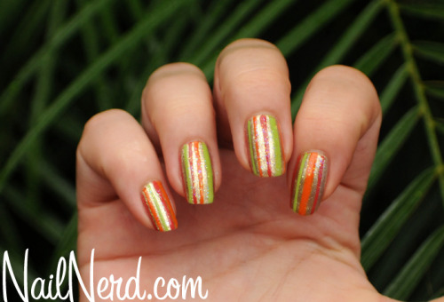 Autumn-hued stripes on a base of OPI Glitzerland with MASH glitter