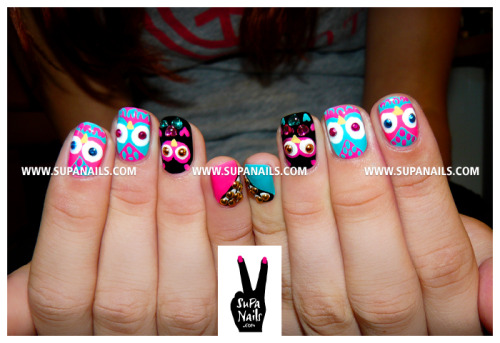 supanails:  Oh Oh Owls Again! Cute owl nails with some rhinestone bling for my sweet friend Lucy.