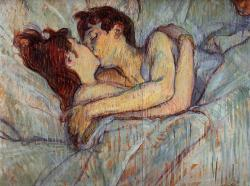 idhangthatonmywall:  Henri de Toulouse Lautrec (1864-1901),In Bed The Kiss, 1892, Private Collection.  The most popular post on this blog this past year! No susprises here. Looking forward to a great new year with great art.