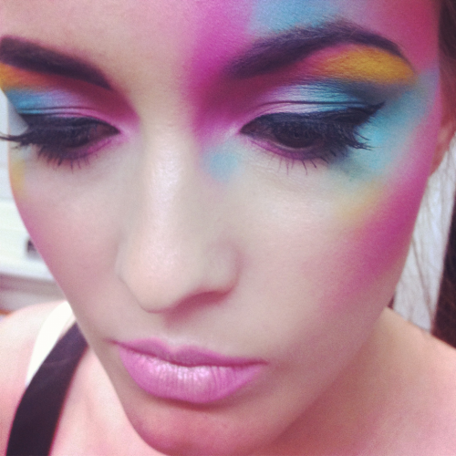 karlapowellmua:  What I used to create this creative rainbow colourful makeup look…   *Illamasqua Skin Base in 01 *Kryolan Translucent powder *A range of Kryolan Supra cream colours, MAC Cream colour bases and Illamasqua Cream pigment for a layered colourful bases *All cream bases were then set with Crown Brush 88 palette matte eyeshadows to make the colours bright and vivid for photography work.   Now who needs an airbrush machine when you can create this free hand?  Karla X