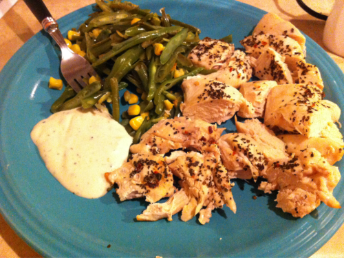 This was today's lunch.  Chicken breast, French cut green beans and corn, with asiago peppercorn dressing (1 serving)  It was yummy!