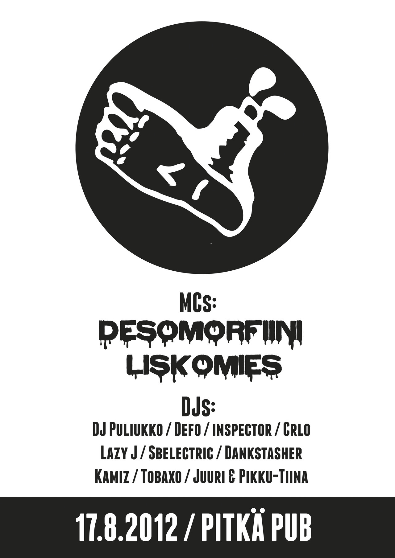 a poster for satama sessions. desomorfiini & liskomies live + a lot of djs!  adobe illustrator.