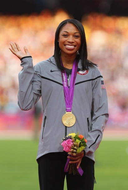 LONDON, ENGLAND - AUGUST 09: Gold medalist Allyson Felix of the United States poses on the podium during the medal ceremony for the Women's 200m on Day 13 of the London 2012 Olympic Games at Olympic Stadium on August 9, 2012 in London, England. (via Photo from Getty Images)