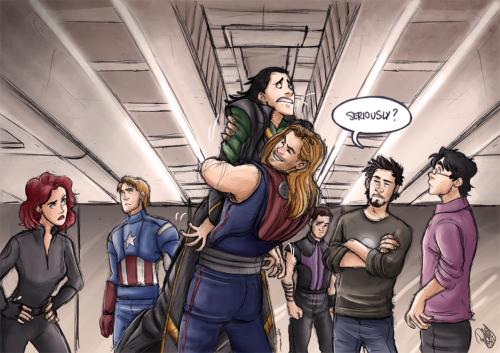 hulkgoesrawr:  The Avengers - The Brothers' Hug By Renny08