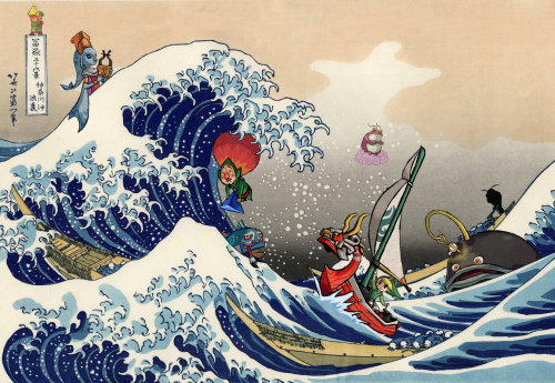 xarcex:  gamefreaksnz:  Great Wave on the Great Sea Wind Waker meets Hokusai Mashup Created by Noah Gibbs  ah, my new wallpaper :D