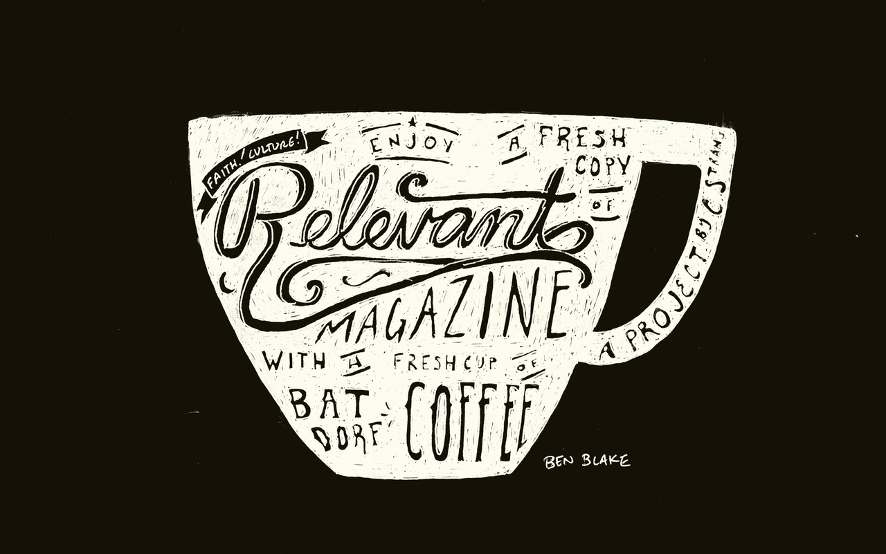 A @relevant + coffee drawing I did on a flight back from Portland. Wallpaper sized, per some requests. Enjoy!