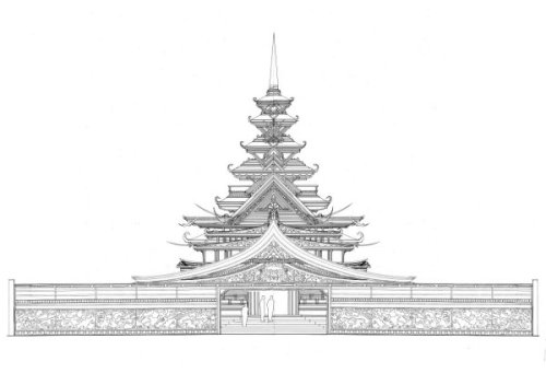 David Best and the Temple Crew would be designing and constructing the temple for Burning Man 2012. The project is titled the Temple of Juno and the first drawing is posted above. The temple grounds will incorporate a large central temple building sitting within a 150\'x150\' walled courtyard. The courtyard is accessible by four entrances, one on each of the temple sides. Benches line the exterior space, and surround the temple. The scale of the central temple building is smaller than the last years of the temples, but this will be the most detailed temple we have built. The central building will have altar space, 3 occupied floors, and a tower. Intricately cut wooden panels and shapes will cover the courtyard walls as well as the interior space and the altars. (via Temple of Juno – Burning Man 2012 | DhammaSeeker)