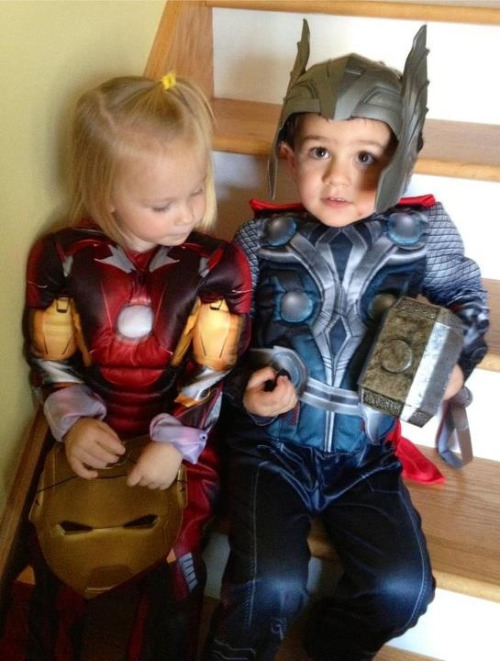 thecompanioncube:  Baxi as Thor and his little girlfriend, Olivia as Iron Girl. The cutest Avengers, ever!