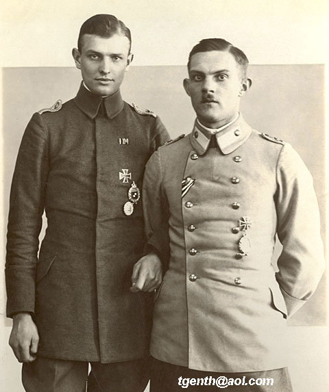 "wahnwitzig:  ""A 'flying couple', Lt. Genth and Lt. Radke the crew of G 406/16. The third man (rear gunner) changed frequently as it looks, i have Vizefeldwebel Gaede and Vizefeldwebel Zschenderlein (or Tschenderlein)""  I love how so many of the chaps in WWI pictures have linked arms, it's adorable. Also, in this one, their completely disparate reactions to being photographed is hilarious. One has a full-blown case of the Pilot Smoulders, the other looks like he doesn't trust the camera at all and would quite like to be elsewhere. Awww ^^"