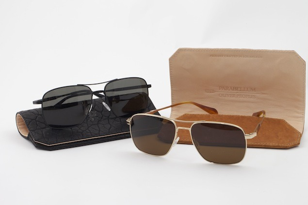 gqfashion:  Coming Soon: Oliver Peoples x Parabellum The eyewear masters at Oliver Peoples have teamed up with the small batch experts at Parabellum to create a limited edition capsule of shades, encased in Parabellum's hand-made bison leather case. The polarized sunglasses (in Peoples' Linford frame) walk the line between rugged and refined, rendered in black matte or tortoise acetate, the latter with rose gold accents.