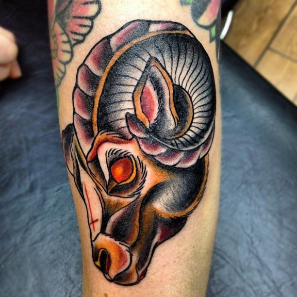 super fun ram from today, wraps a bit #tattoos #ram #satan (Taken with Instagram at Slick Styled Steel)
