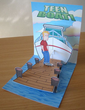 Paper cut out, pop up art for Teen Boat that John Green made a while back!