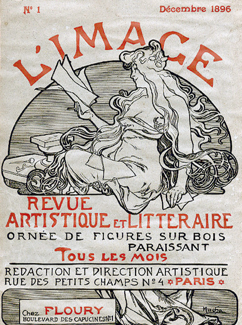 Magazine cover illustration for the first issue of 'L'image' (1896) by Alphonse Mucha. Source