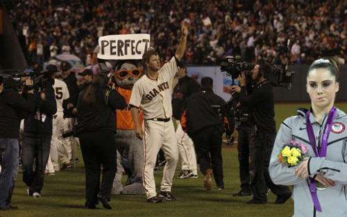 Tomorrow night the Giants will honor Matt Cain's Perfect Game with a special Pregame Ceremony.  Mckayla Maroney will not be attending