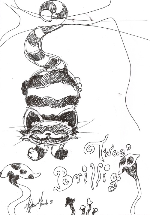 "Concept drawing for the Cheshire cat, color has yet to be added. This was my first idea of what i wanted to incorporate in to my next painting.  7 1/2"" X 11"" Ink on paper"