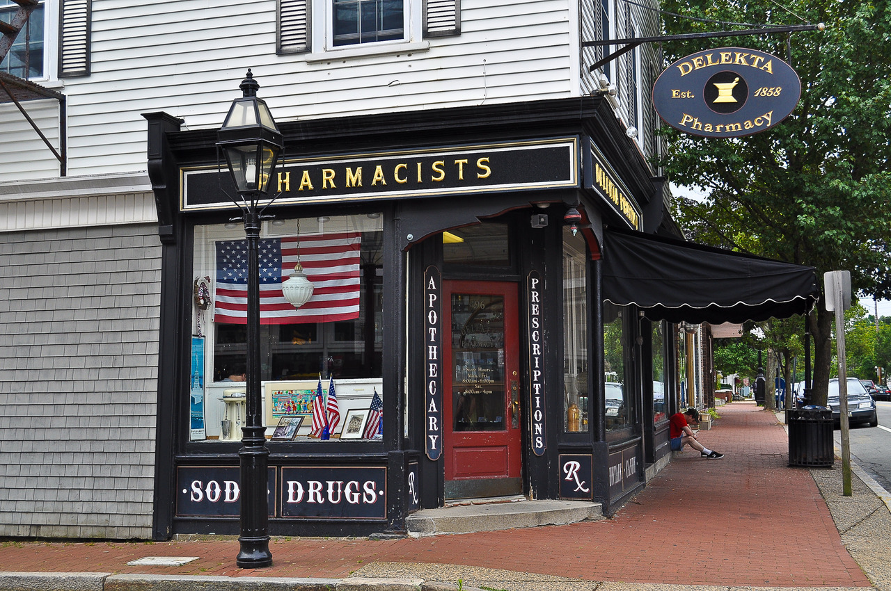 An old pharmacy in small New England town, it also has an old fashion soda fountain inside.