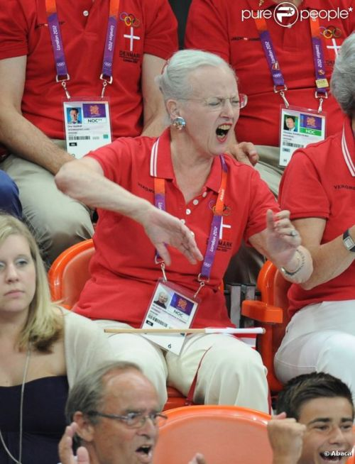 I see your queen and raise you ours: Queen Margrethe of Denmark (same handball match)