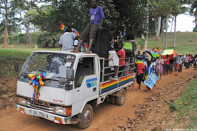 tyleroakley:  This weekend, activists in Uganda held their first Gay Pride. This is a country where homosexuality is punishable by death. This is a huge step for human rights, and I can't even fathom the bravery it took to participate. (via)