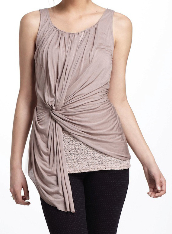 [Lace-Layered Ruched Tank by Anthropologie]