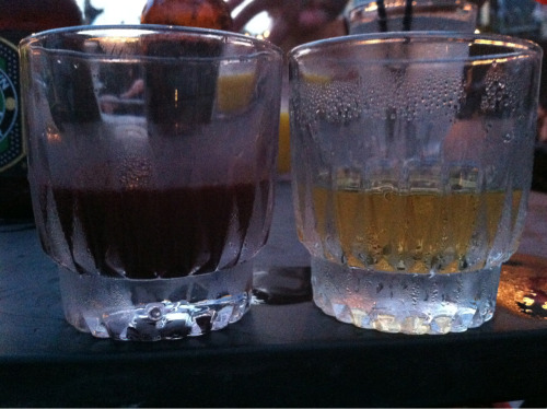 beet-infused vodka on the left. jameson on the right. big night. [if you haven't been to night of joy in williamburg, you're missing out. they make beet-infused vodka.]