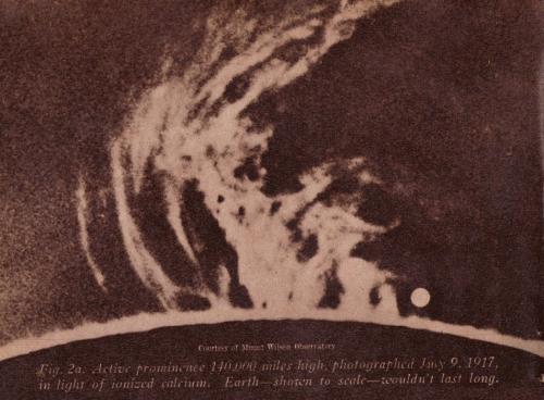 Wow! Over 100-year-old images of solar prominences, with Earth drawn to scale, reminding us how long we wouldn't last inside of one. (via thegildedcentury)