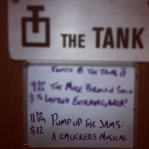 Late Nite @ The Tank is a collection of secret shows that may or may not have taken place at the The Playroom Theater,  where the Tank is currently in residence.