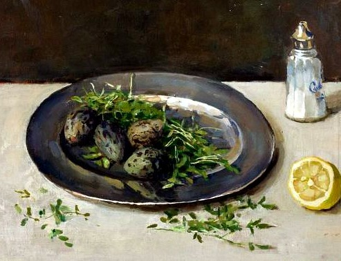 Lucie van Dam van Isselt Still Life with Plover's Eggs and Watercress 20th century