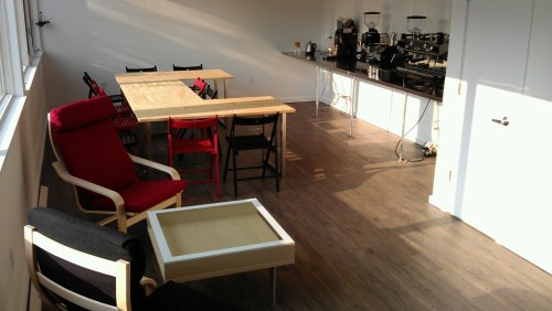 Our new training center, at Catherine and 22d, is ready for the first Barista to train on the new LaMarzzocco GB5.   Nate Gibney, Mugshots' coffee boss, will come practice for Barista Certification.