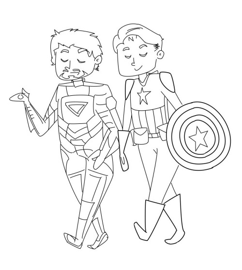 Have yourself some chibi Tony Stark and Cap. So bored so bored so bored sooooooo