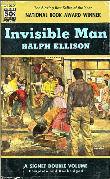 Ralph Ellison - Invisible Man Cover illustration by James Avat (1953)  Source: Kyle K