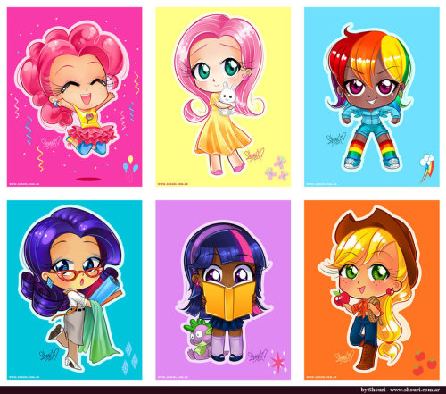 "Chibi Mane Six by ~ShouriMajoThe mane six from My Little Pony: Friendship is Magic as chibi humans. :3 They were the biggest hit at my Otakon table… we heard a lot of people saying ""cuteee!"".  Get prints (and more!) here! -> shouri.storenvy.com"