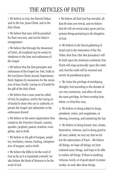 What we believe in 13 concise statements. Our articles of faith.