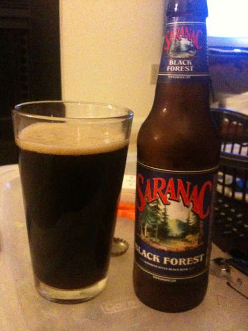 Beer two in 100 Beers in 100 Days. Saranac Black Forest. This beer was actually surprisingly dark although quite enjoyable. It finished a bit bitter but had strong cherry notes and an underlying smokiness that I really liked. I give it a 7/10 and I would recommend it with steaks or heavy pastas. Very good.