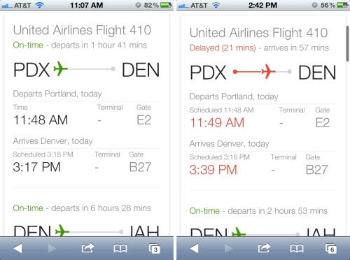 littlebigdetails:  Google Flight Search Results - On mobile, Google flight status results include an airplane placed on a line at a point relative to its flight progress. Color communicates whether the flight is on time or not. /via Erin Olmon