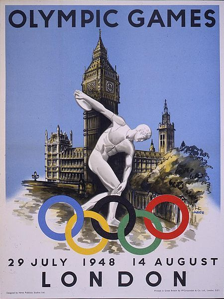 historyoftheisles:  The 1948 London Olympic poster is simple and iconic. The classic Greek Discobolus statue standing in front of the iconically British Houses of Parliament make up the poster. It is simple and straightforward and the style is still closely connected to the propaganda posters put out during World War II. Due to the short time frame of planning for the 1948 Olympics no type of design contest was held, which could have been a reason for the simple design. 100,000 of these posters were printed and distributed throughout Great Britain, from London boroughs to travel agencies to villages in the country. All copies were used by the start of the games. Image  Source: The Official Report of the Organising Committee for the XIV Olympiad