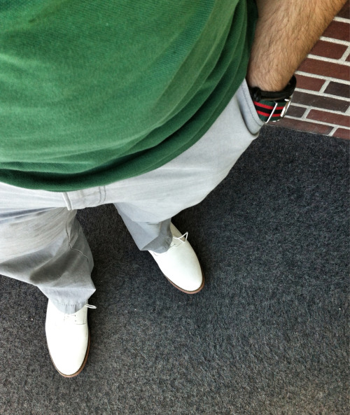 I wore my favorite light chinos again earlier this week. Paired them with white bucks, and matched my NATO watch strap to my  polo shirt.