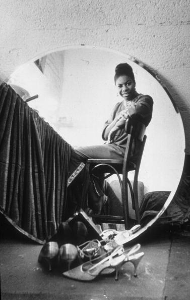 vintageblackglamour:  Nina Simone in her dressing room at the Village Gate in Manhattan before a live recording session in March 1965. Photo by Sam Falk/New York Times Co./Getty Images.
