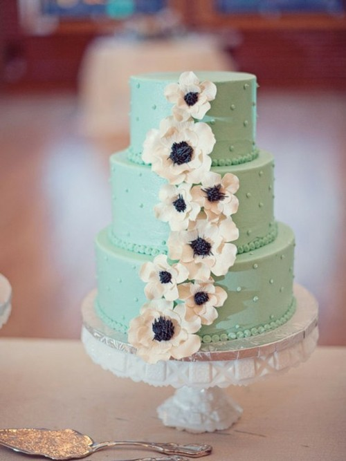 I've been holding on to this mint green anemone cake for weeks - it's so adorable!