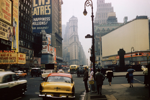 theniftyfifties:  47th Street, New York City, 1957. Photo by André Robé.