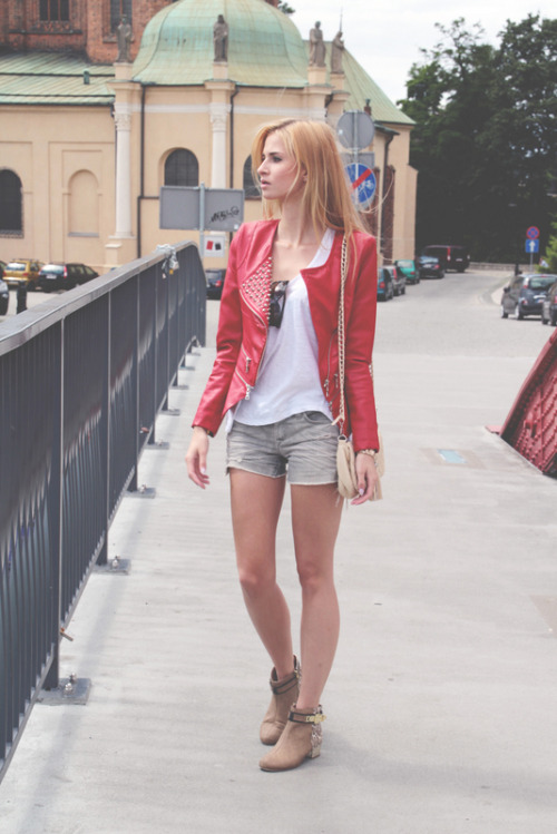 THIS jacket! I've been obsessed with red leather jackets as of lately.