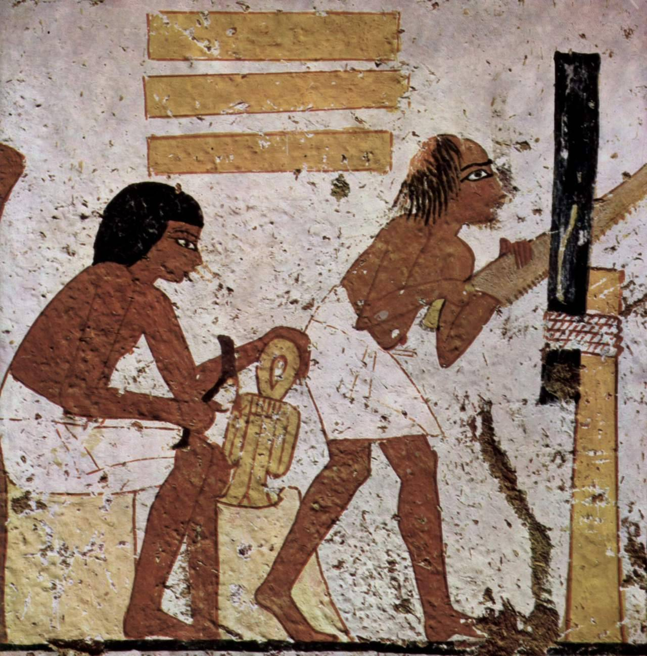 ancientart:  Ancient Egyptian painting of woodworkers, Tomb of Nebamun, c. 1350-1300 BC.