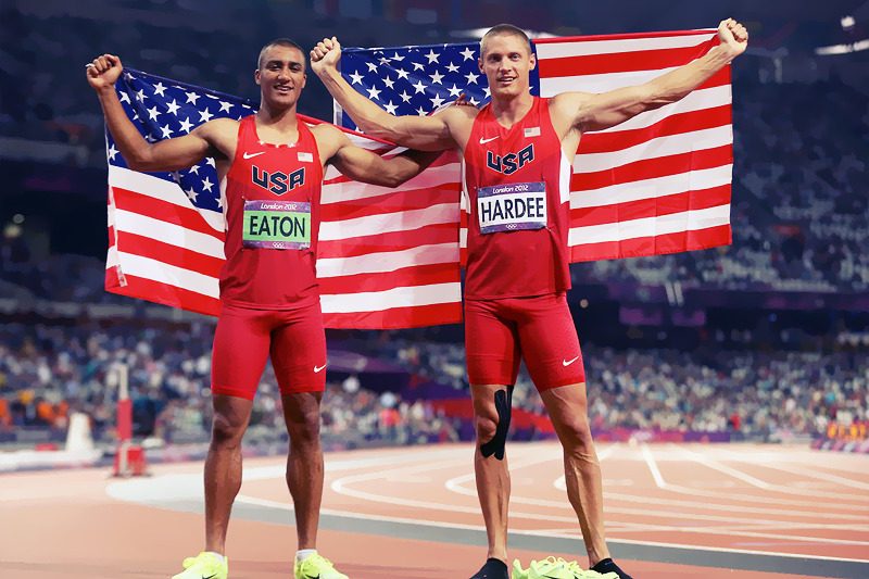 OLYMPICS DAY 13 USA gold medalist Ashton Eaton and silver medalist Trey Hardee wear their nation's flag as they celebrate their wins in Men's Decathlon Photo by Streeter Lecka
