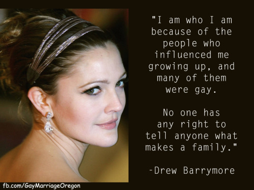"Drew Barrymore speaking in support of equality. Please ""like"" us on Facebook and follow us on Twitter."
