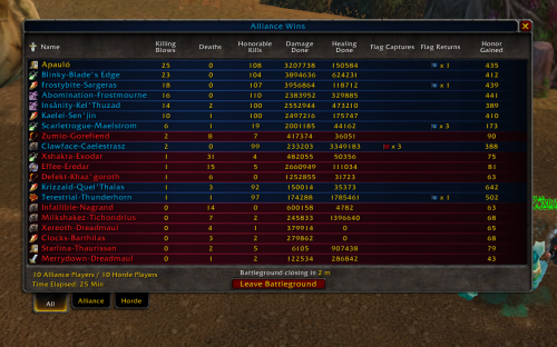 Battle Grounds at Warsong Gulch 25 killing blows 0 deaths! straight rippin'