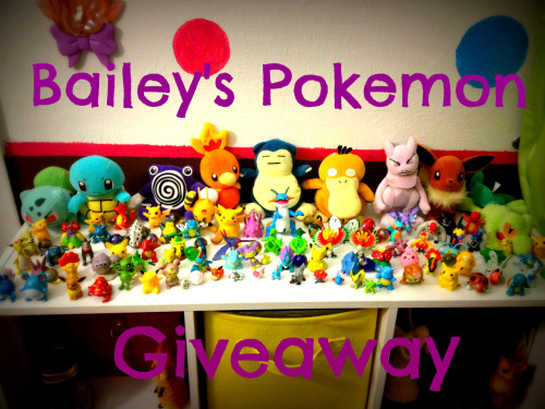 soldtothemaninacoldsweat:  BAILEY'S POKEMON GIVEAWAY! My friend gave me a box full of old Pokemon toys and plushies about a year ago when she moved out, and because I could find nothing better to do with them, I decided to do a fun little giveaway! There are 100 items in total I'll be giving away, and those include the plushies, toys, marbles, and minatures all pictured above. I will give one to each winner, so there are plenty of chanced to win! The giveaway will end on Friday, September 14, 2012 at midnight that night, so you have about a month from when I'm posting this. After that, I will choose from a random name generator and the first 100 names will win a prize. Once you are chosen, I will message you asking for what prize you want and your address. As soon as someone replies with what prize they want, I will take it off the list, so if you win, make sure you reply quick enough so that your favorite doesn't get taken!  Rules: No giveaway blogs, I'll check. You don't have to follow me. Likes don't count. Reblog as much as you want. Keep your ask box open after the contest ends.  You can find a list of all the prizes you can win here. Reblog and good luck!