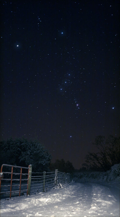kaiyves:  n-a-s-a:  Sideways Orion Over Snowy Ireland  Credit & Copyright: Brendan Alexander (Donegal Skies)   Nice!