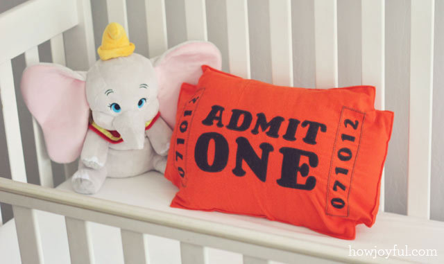 aboxofdesigns:  Nursery: Circus ticket pillow – tutorial and pattern