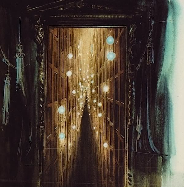 "fuckyeahhauntedmansion:  Concept art for the ""Endless Hallway"" at the Haunted Mansion."